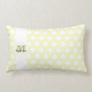Duo-tone Moroccan Trellis (Yellow) (Monogram) Pillow