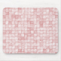 Duo-Tone Pastel Pink Tile Pattern Mouse Pad