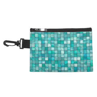 Duo-tone Teal Geometric Tile  Pattern Accessories Bags