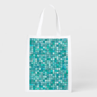 Duo-tone Teal Geometric Tile  Pattern Grocery Bags