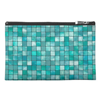 Duo-tone Teal Geometric Tile  Pattern Travel Accessory Bag