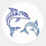 Dúo tribal de la masopa del tatuaje pegatina redonda