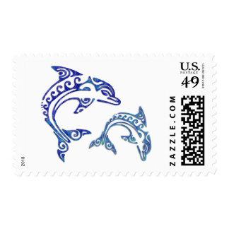 Dúo tribal de la masopa del tatuaje timbre postal