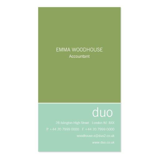 Duo Vertical Aqua & Green Business Card