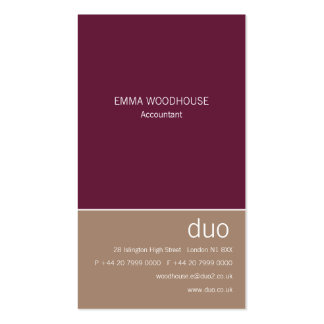 Duo Vertical Burgundy & Tan Double-Sided Standard Business Cards (Pack Of 100)