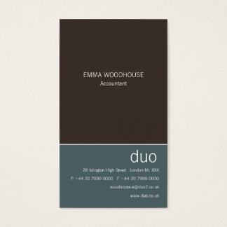 Duo Vertical Cadet Blue & Brown Business Card