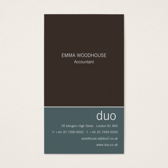 Duo Vertical Cadet Blue & Brown Business Card
