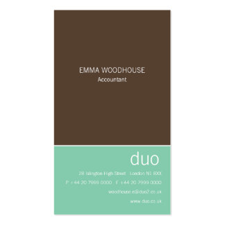 Duo Vertical Chocolate Brown & Mint Business Card Template
