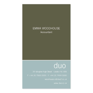 Duo Vertical Light Blue & Dark Olive Business Card