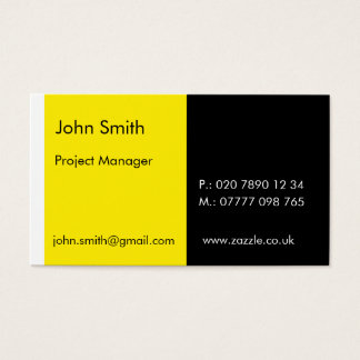 """Duo - Yellow & Black (2"""" x 3.5"""") Business Card"""