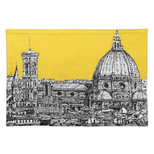 Duomo Florence in orange Place Mats