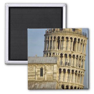 Duomo y torre inclinada, Pisa, Toscana, Italia Imán Cuadrado