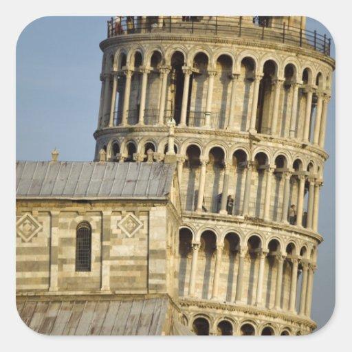 Duomo y torre inclinada, Pisa, Toscana, Italia Pegatina Cuadrada