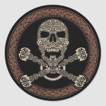 Duotone Celtic Skull & Bones Stickers