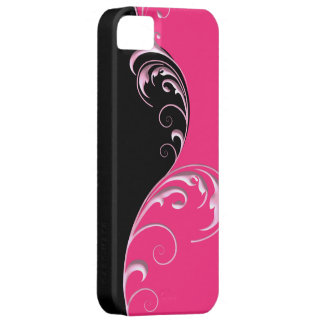 DuoTone Floral Flourish ~ Black & Pink iPhone SE/5/5s Case