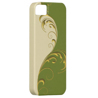 DuoTone Floral Flourish ~ Green & Beige iPhone SE/5/5s Case