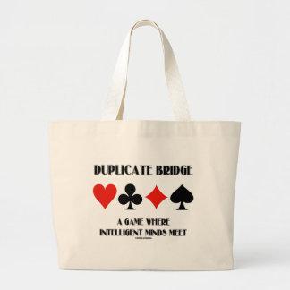 Duplicate Bridge A Game Where Intelligent Minds Large Tote Bag