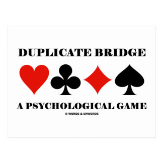 Duplicate Bridge A Psychological Game Postcard