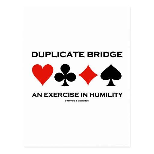 Duplicate bridge an exercise in humility humor postcard