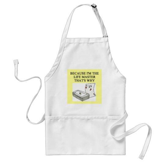 duplicate bridge expert joke adult apron