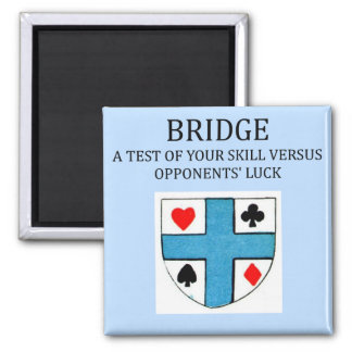 duplicate bridge game player 2 inch square magnet