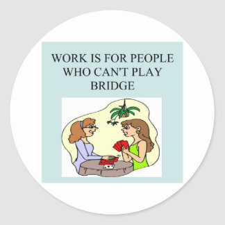 duplicate bridge game player classic round sticker