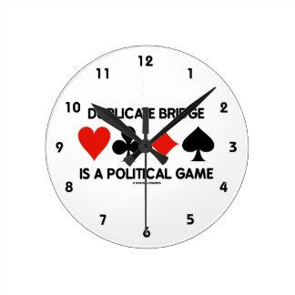 Duplicate Bridge Is A Political Game (Card Suits) Round Clock