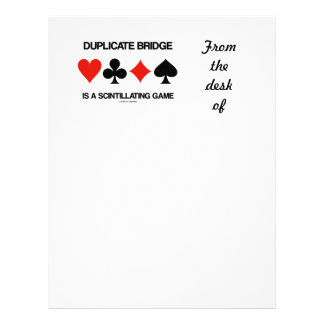 Duplicate Bridge Is A Scintillating Game Letterhead