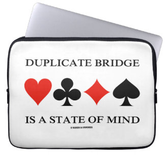 Duplicate Bridge Is A State Of Mind (Card Suits) Laptop Sleeve