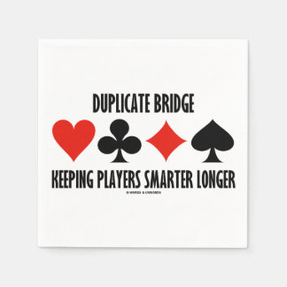 Duplicate Bridge Keeping Players Smarter Longer Paper Napkin