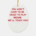 duplicate bridge Double-Sided oval ceramic christmas ornament