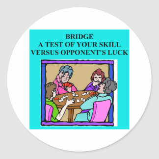 duplicate bridge player design classic round sticker
