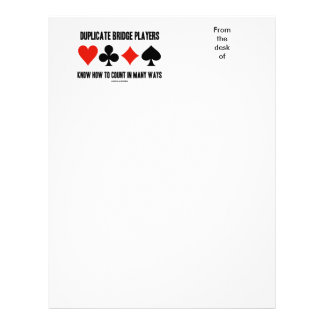 Duplicate Bridge Players Know How To Count Customized Letterhead