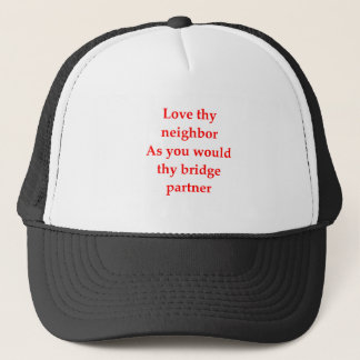 duplicate bridge trucker hat