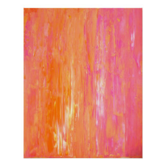 'Duplicate' Pink and Orange Abstract Art Poster