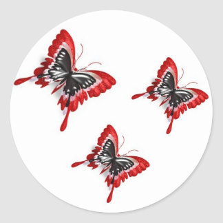 Duplicated Red Butterflies-stickers Classic Round Sticker