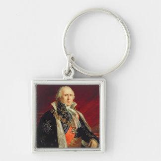 Duque de Charles-Francois Lebrun de Plaisance Llavero Cuadrado Plateado