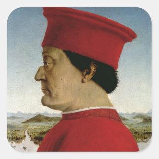 Duque de Federigo DA Montefeltro de Urbino, c.1465 Pegatina Cuadrada