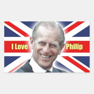 Duque de HRH de Einburgh - amor Philip de I Pegatina Rectangular