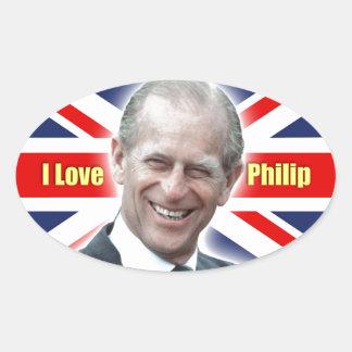 Duque de HRH de Einburgh - amor Philip de I Pegatina Ovalada