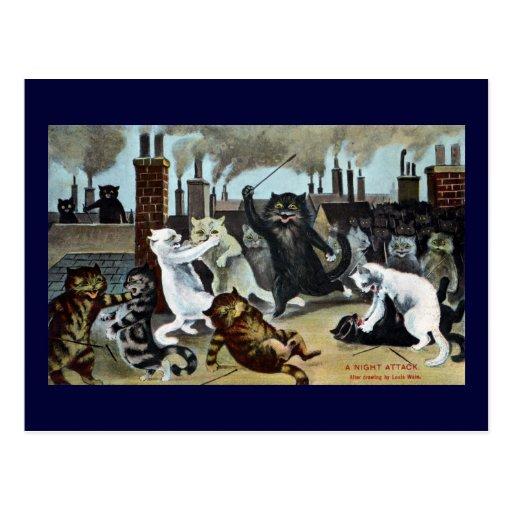 Duque It Out de los gatos en un tejado Tarjetas Postales