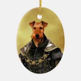 Duque Oval Ornament Gifts de Terrier galés Tudor Adorno Navideño Ovalado De Cerámica