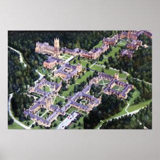 Duque Univ de Durham Carolina del Norte. Birdseye Póster