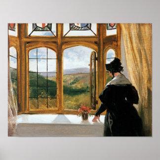 Duquesa de Abercorn que mira fuera de una ventana Poster