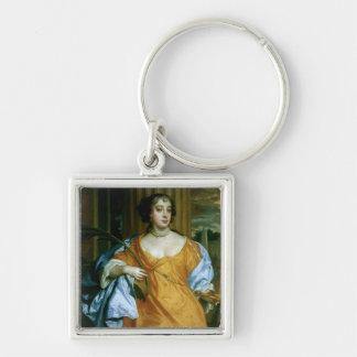 Duquesa de Barbara Villiers de Cleveland Llavero Cuadrado Plateado