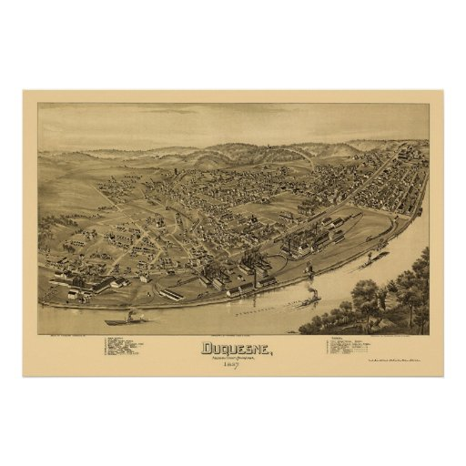 Duquesne, mapa panorámico del PA - 1897 Póster