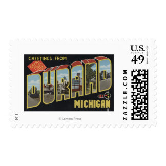 Durand, Michigan - Large Letter Scenes Postage
