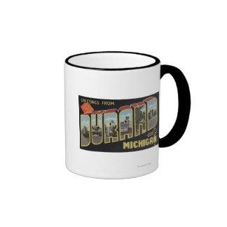 Durand, Michigan - Large Letter Scenes Ringer Mug