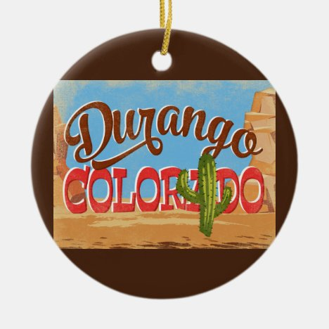 Durango Colorado Cartoon Desert Vintage Travel Ceramic Ornament