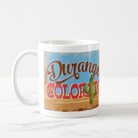 Durango Colorado Cartoon Desert Vintage Travel Coffee Mug